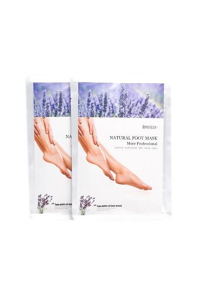 Apritech 2x Paar Lavendel Fußmaske-& Peeling gegen Hornhaut & abgestorbenen Hautzellen