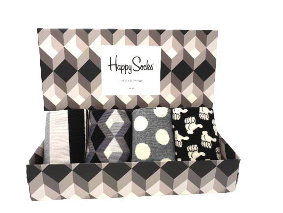 Happy Socks Geschenkbox Black and White mit vier Paar Socken online kaufen bei mycleverdeals.de