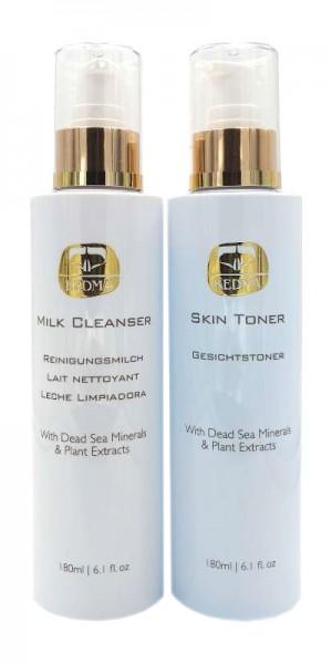 Kedma Set Wash & Tone Reinigungsmilch & Gesichtswasser zur Gesichtspflege, 2 x 180 ml