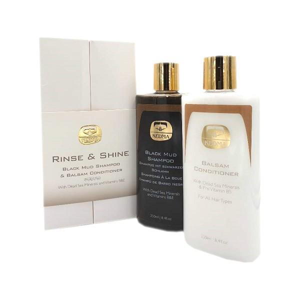 Kedma Set Rinse & Shine Black Mud Shampoo & Balsam Conditioner Haarpflegeset bei mycleverdeals.de